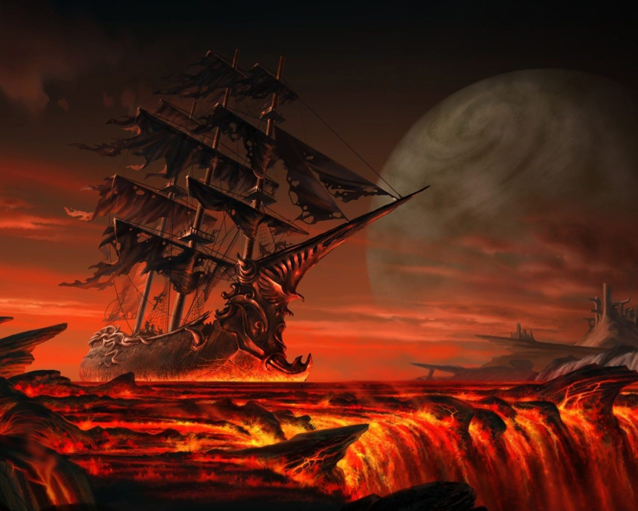 3d Ghost Wallpaper Download Pirate Ship Pirates Lava Ships Fantasy Art 3d Sailing
