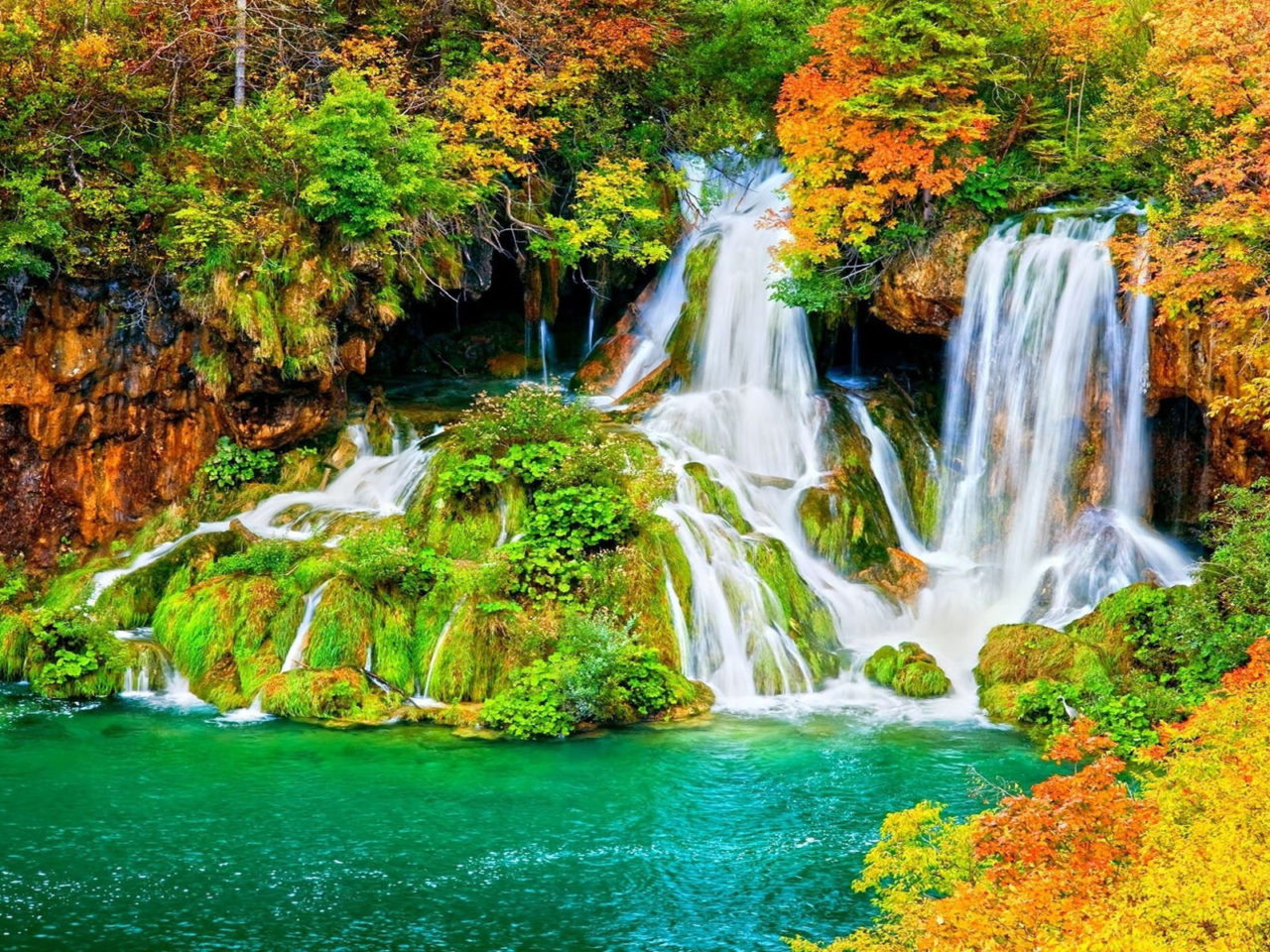 Waterfalls Desktop Wallpaper Forest Falls Autumn Waterfall Forest Trees Shrubs With Yellow And Red