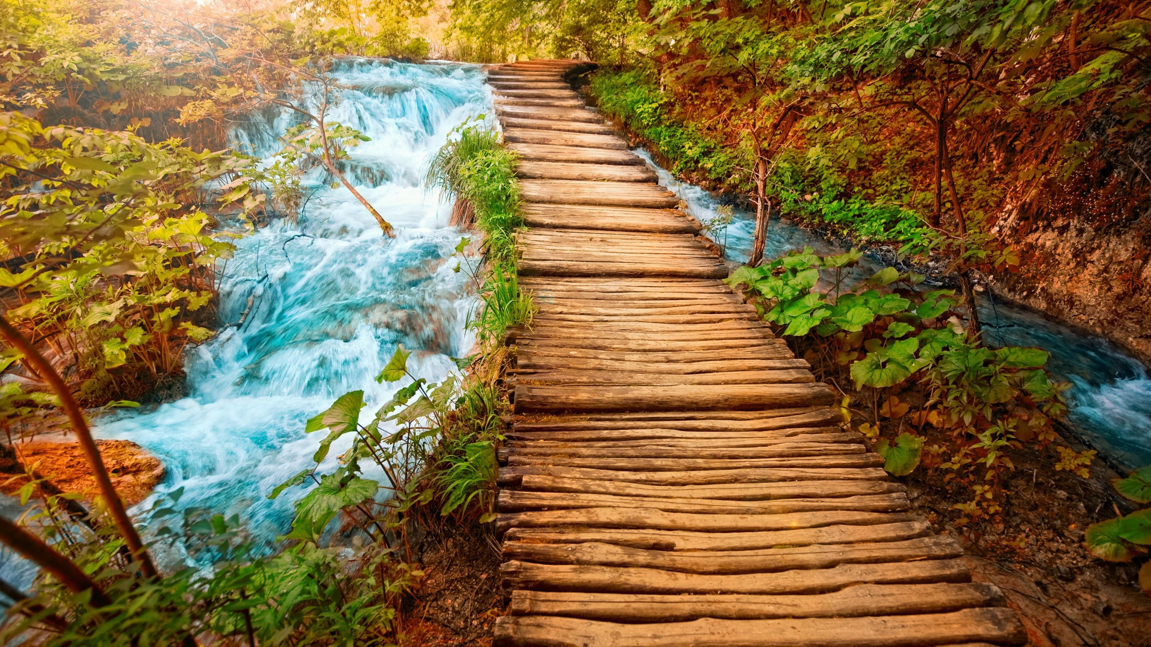 Hd Wallpaper Yosemite Fire Fall Wooden Path Rocky River With Small Waterfalls Clear Water