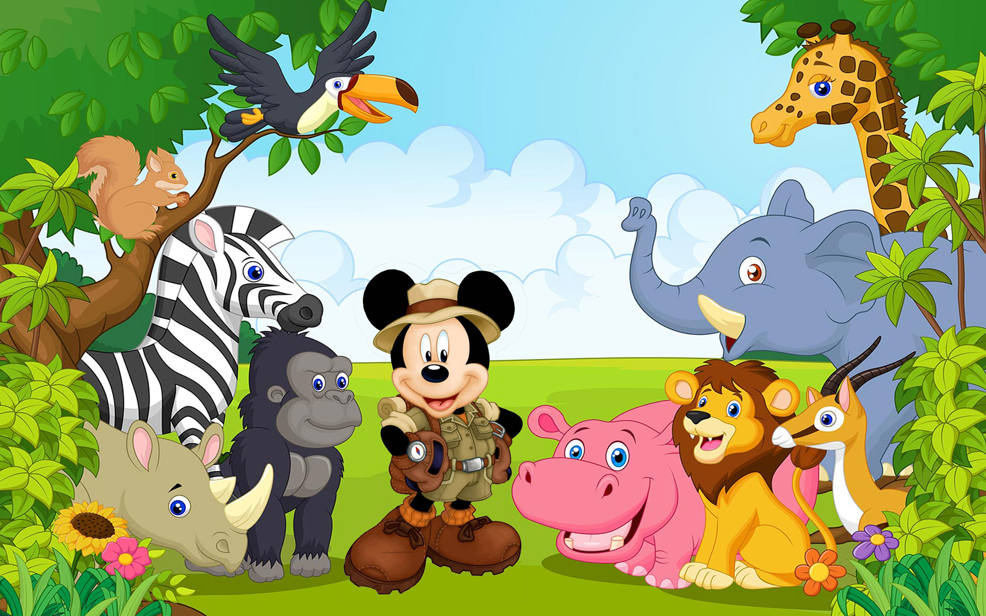 Free Hd Car Wallpaper Download For Pc Mickey Mouse With Friends From The Jungle Safari Cartoon