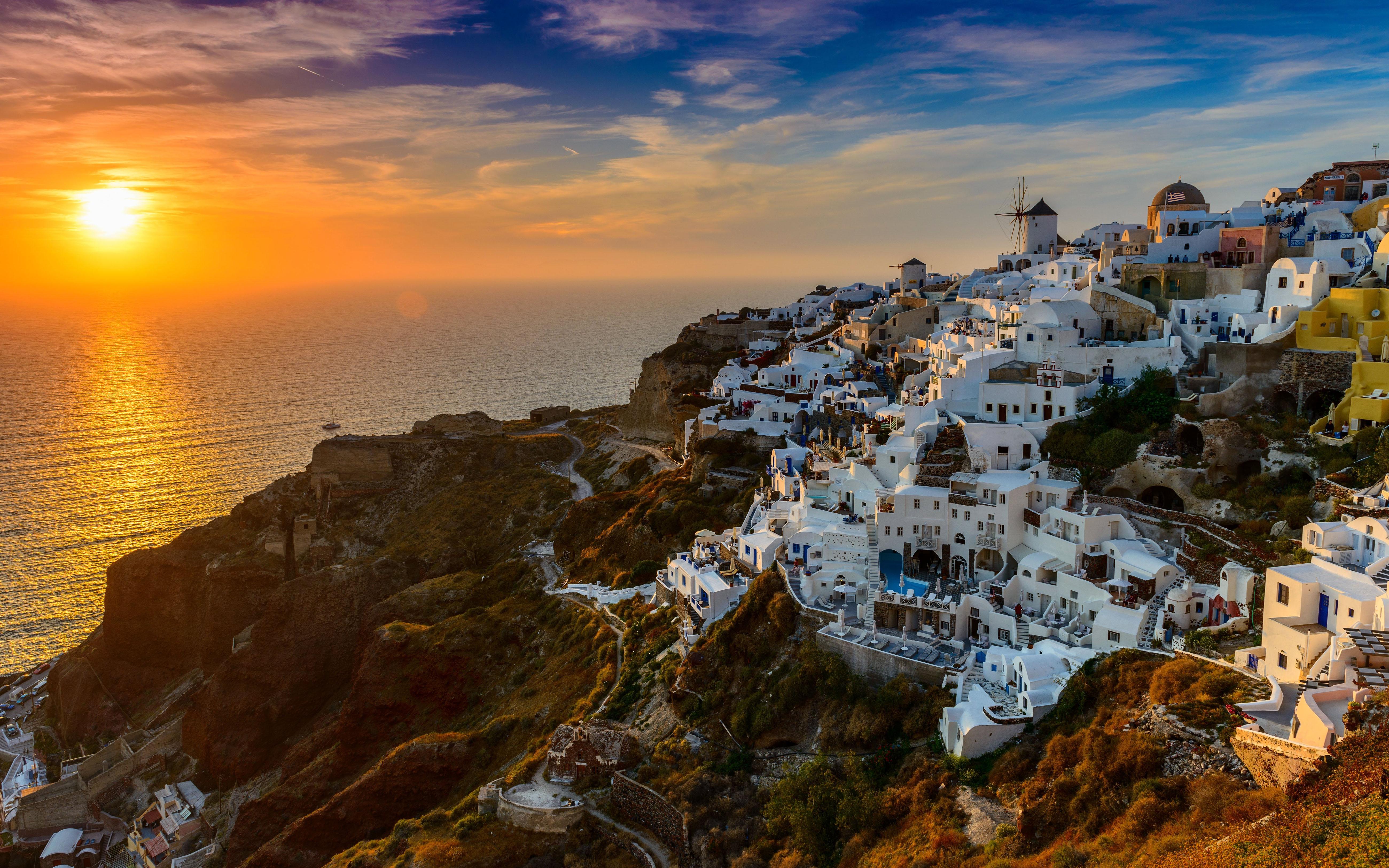 Hd Christmas Wallpaper For Ipad Santorini Island In Greece Aegean Sea Sunset Desktop