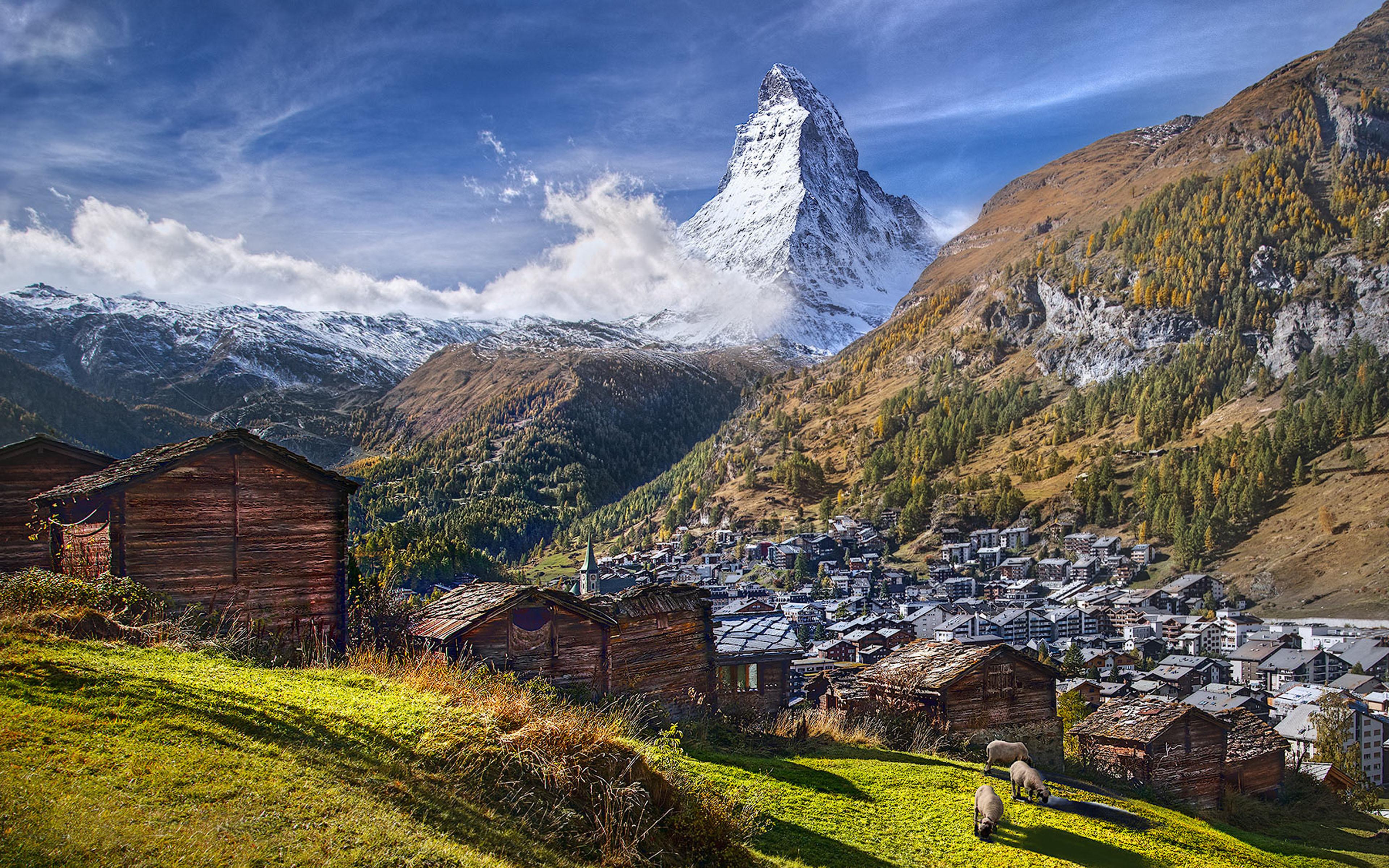 Green Forest Wallpaper Hd Mountain Matterhorn Alps Between Switzerland And Italy