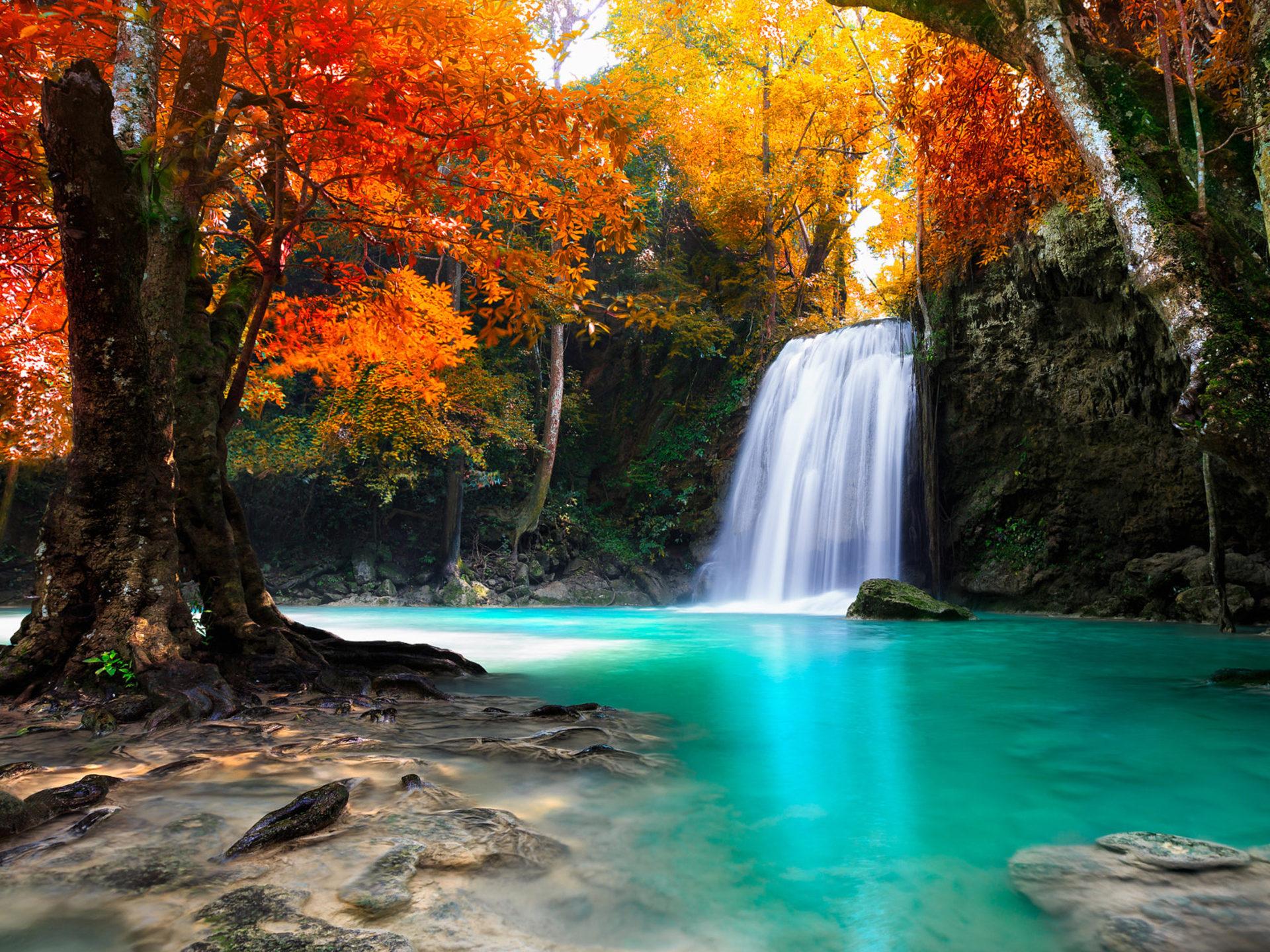 Natural Hd Wallpaper Download For Android Waterfall In Kanjanaburi Thailand Landscapes Wallpaper
