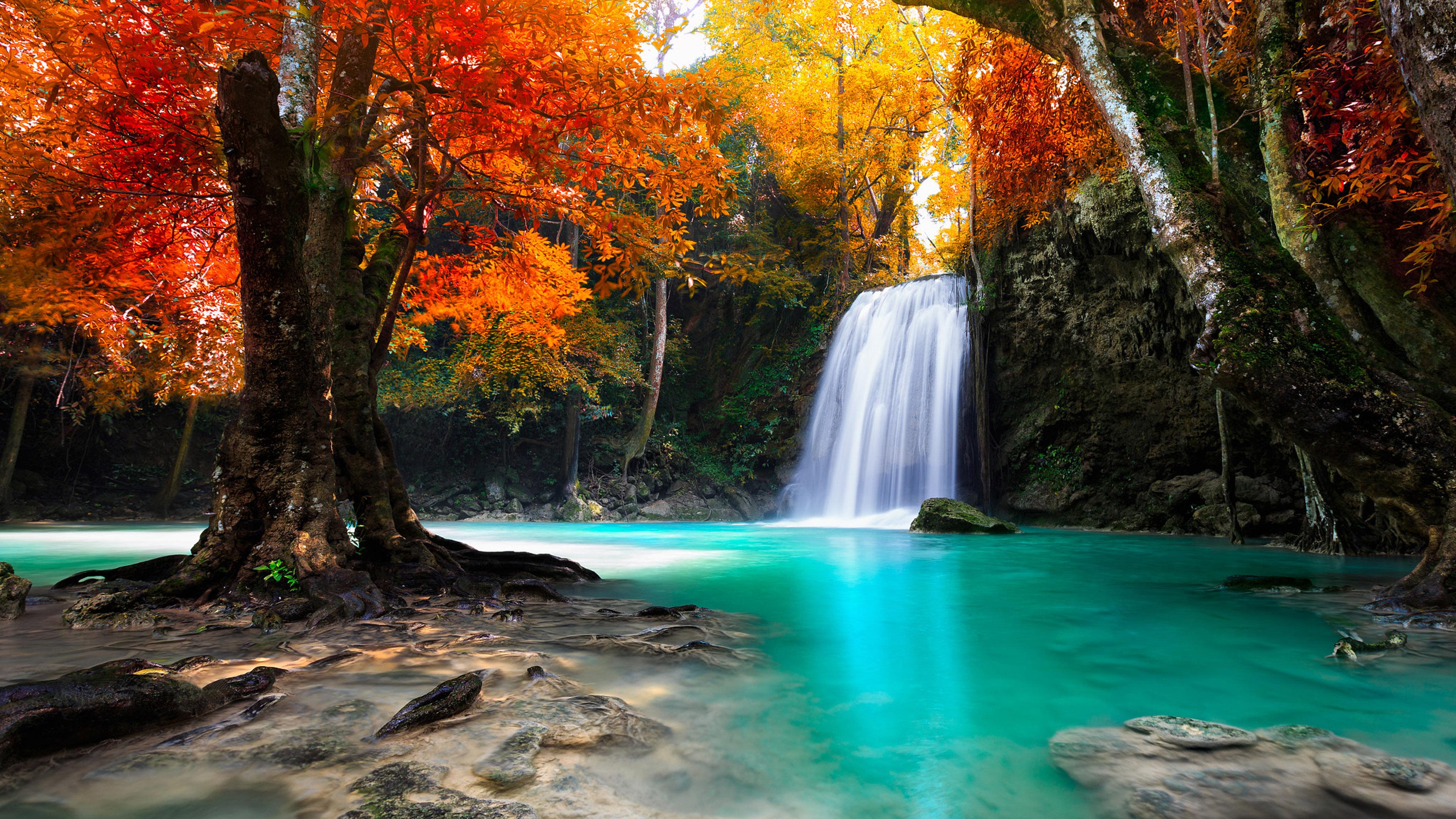 Hd Wallpaper Fall Leaves Waterfall In Kanjanaburi Thailand Landscapes Wallpaper