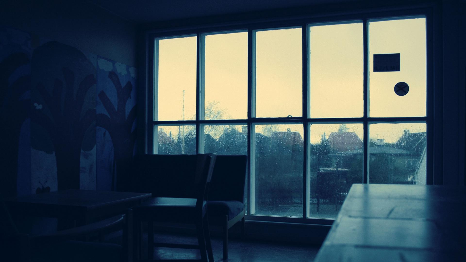 Dark Cozy Girl City Wallpaper Download Wallpaper 1920x1080 Room Window Rain Dark