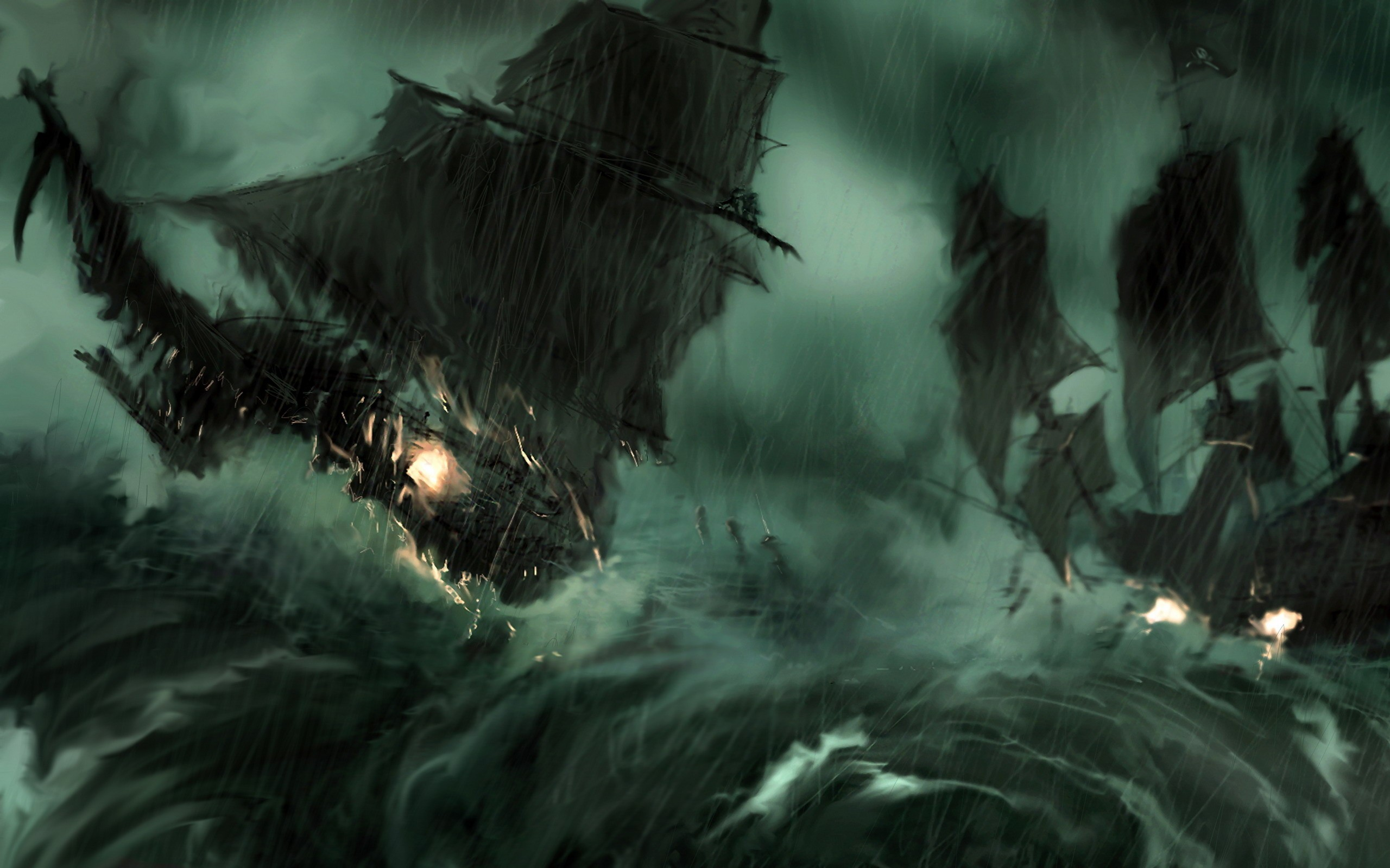 3d Wallpaper Ship Paintings Rain Pirate Ship Storm Pirates Of The Caribbean