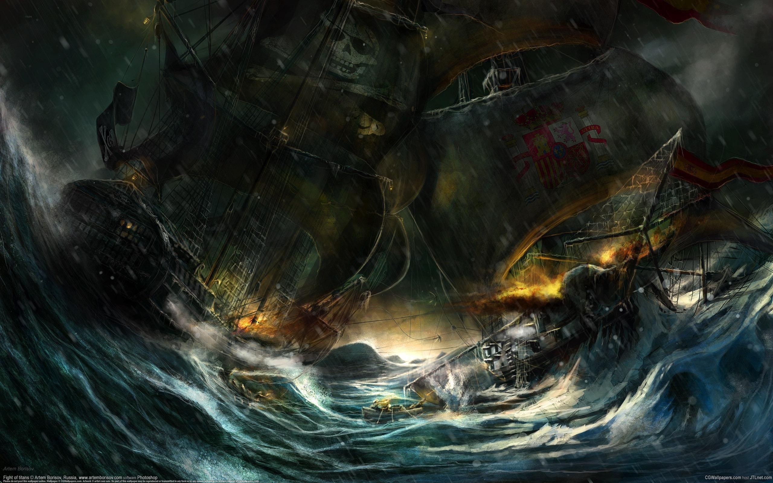 Wallpaper 3d Facebook Rain Waves Storm Ships Pirates Battles Artwork Wallpaper