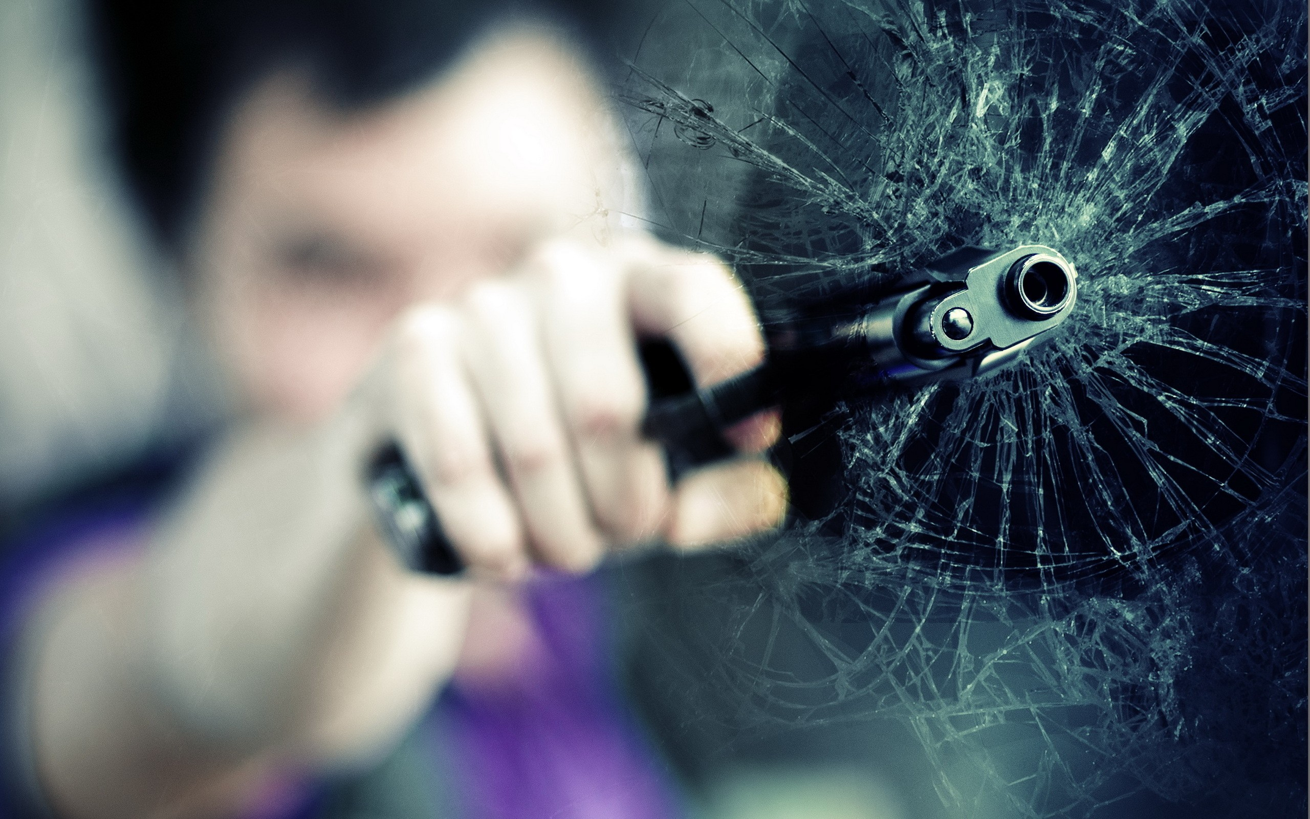 Stylish Girl With Guitar Wallpapers Guns Glass Broken Glass Out Of Focus Wallpaper 2560x1600