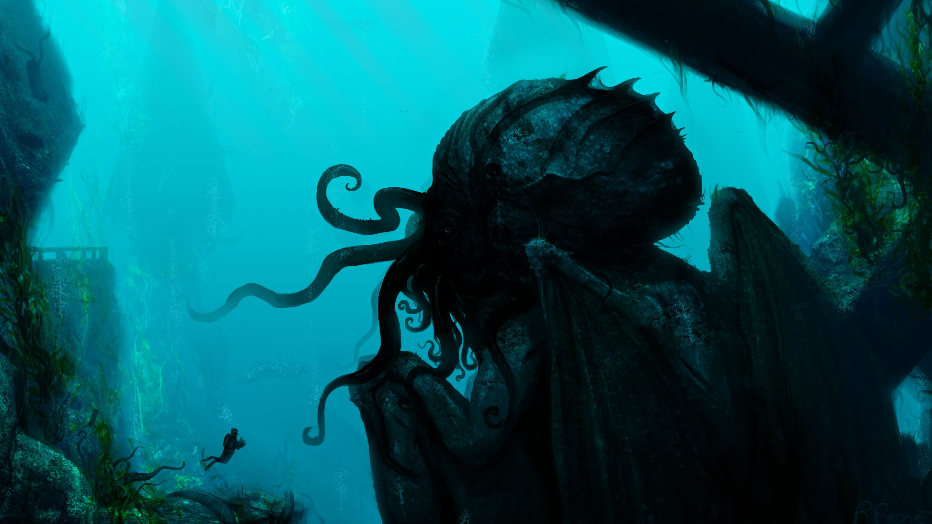 3d Fantasy Wallpapers 1920x1080 Cthulhu Fantasy Art Artwork Underwater Wallpaper