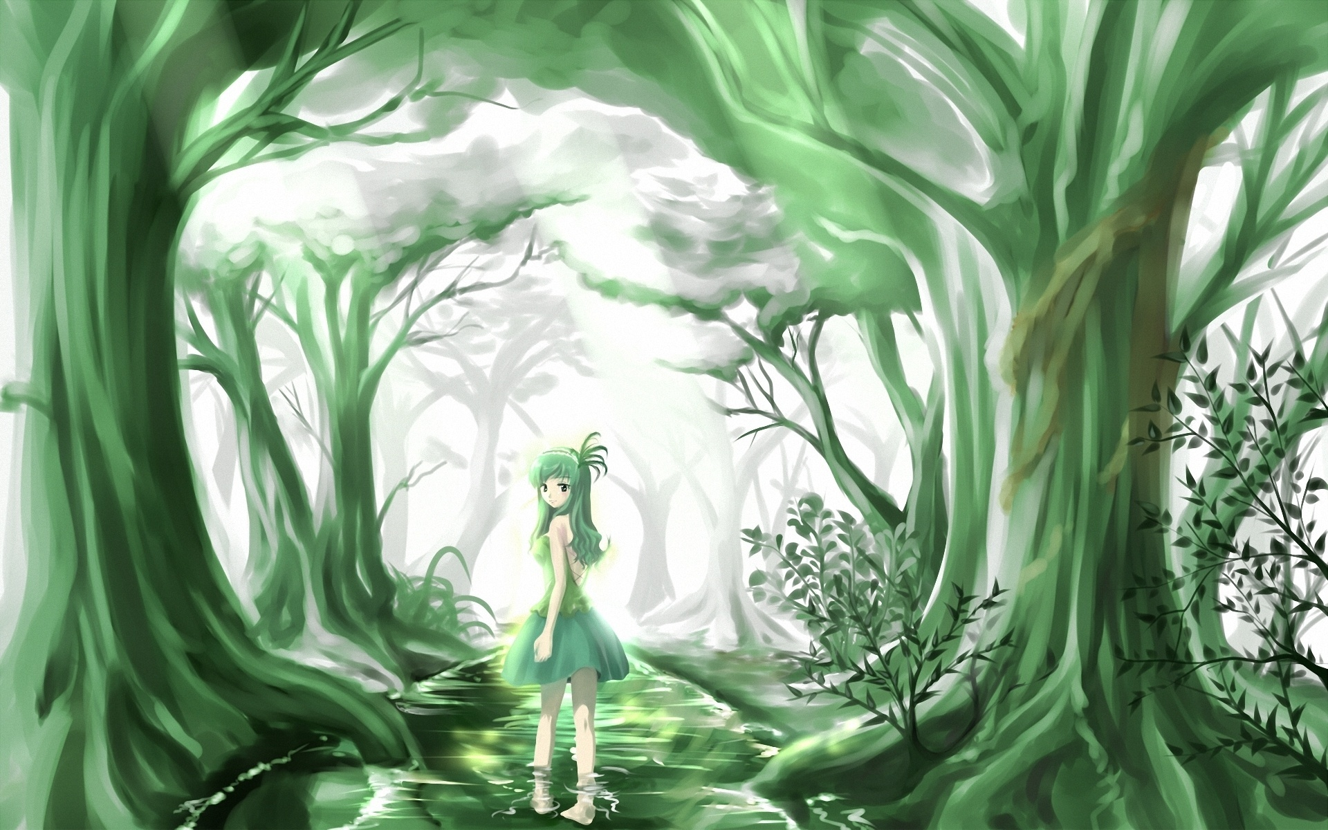 Girls Profile Wallpaper Anime Original Trees Forest Artistic Cute Women Girls