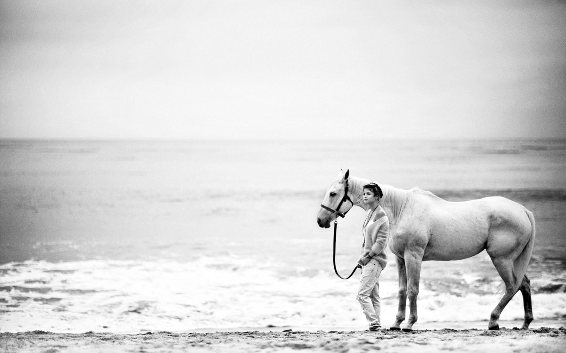 Black Wallpaper Girl Animals Horse Sea Ocean Seascape Waves Sky Beaches Sand