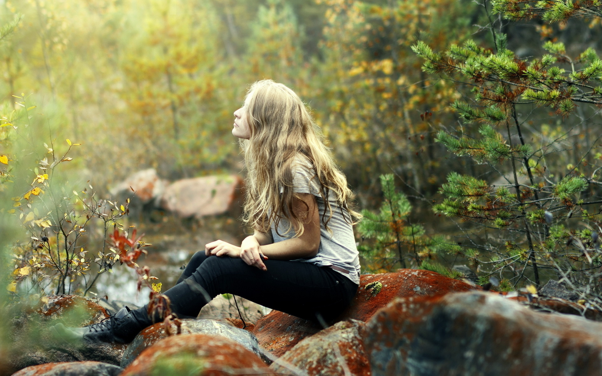 Cute Small Girl Wallpapers For Facebook Mood Emotion Alone Trees Forests Nature Blonde Photography