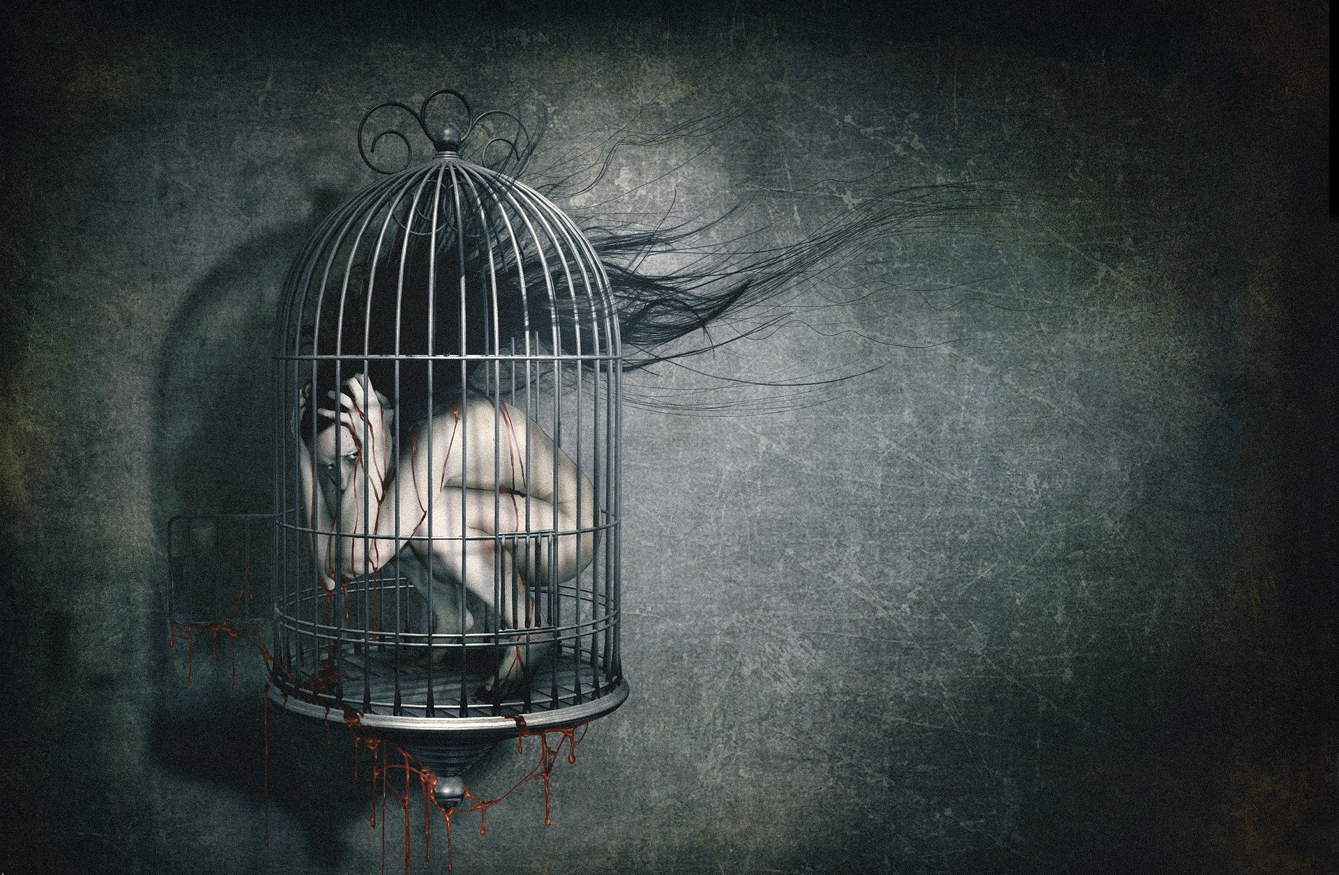 Lonely Emo Girl Hd Wallpaper Dark Horror Creepy Blood Macabre Cage Sad Sorrow Wallpaper