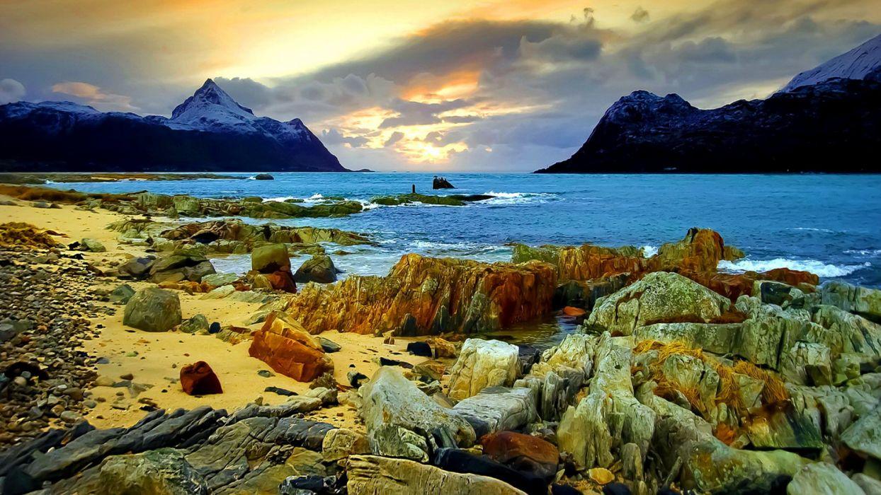 Free Hd Cute Baby Wallpaper Coast Shore Rocks Wood Fjord Lakes Mountains Landscapes