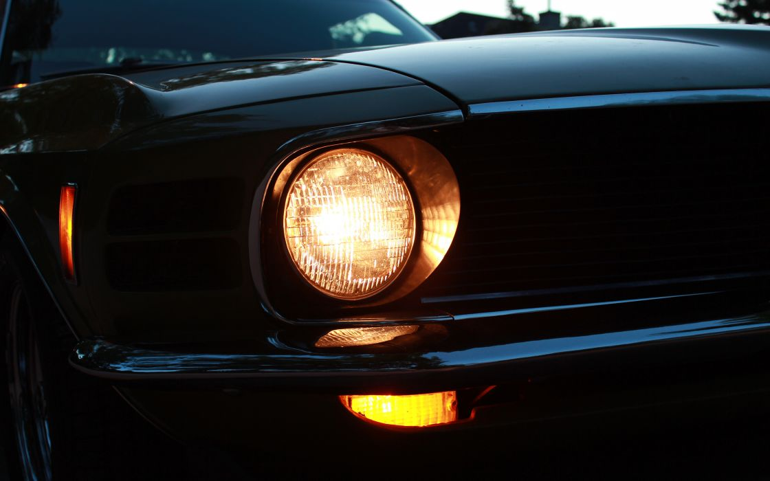 Muscle Car Background Wallpaper Ford Mustang Classic Car Classic Headlight Muscle Cars