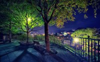 Park garden bench trees night lights lamp post fence ...