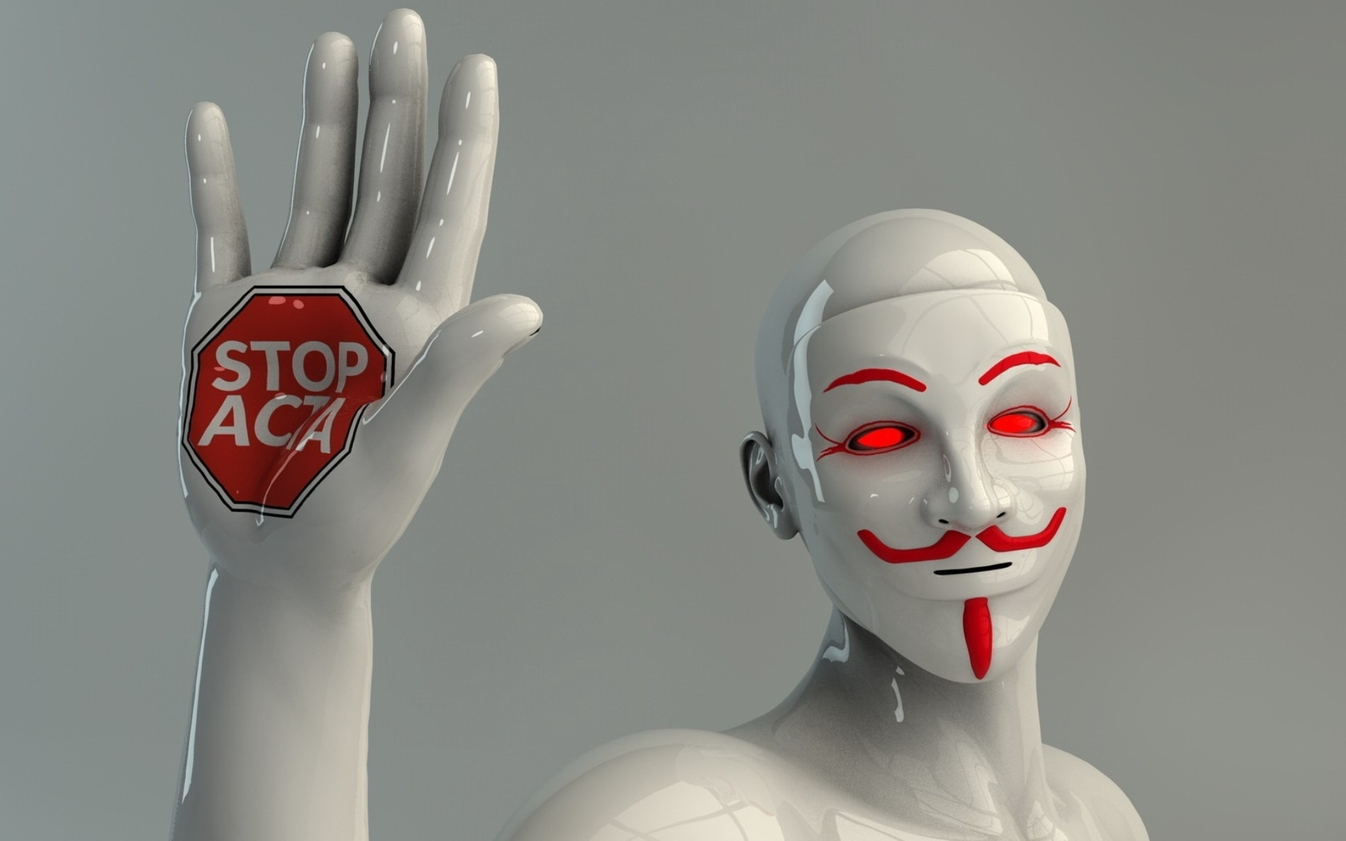 Anonymous Mask Wallpaper 3d People Robot Mannequin Lighting Hand Protest Gesture
