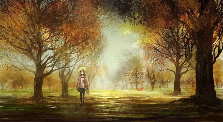 Anime A Fall Wallpaper Original Art Girl Landscapes Anime Trees Park Autumn Fall