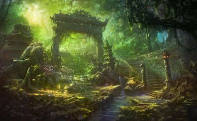 Fantasy art temple trees forest jungle landscapes decay ruins wallpaper | 1920x1180 | 34271 ...