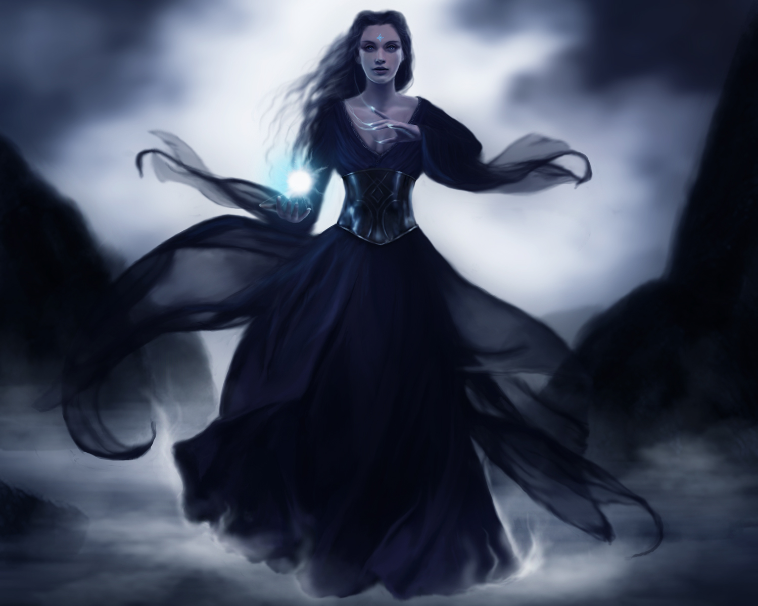 1920x1080 Wallpaper Fantasy Girl Dark Horror Gothic Fantasy Art Witch Magic Women Girl Gown