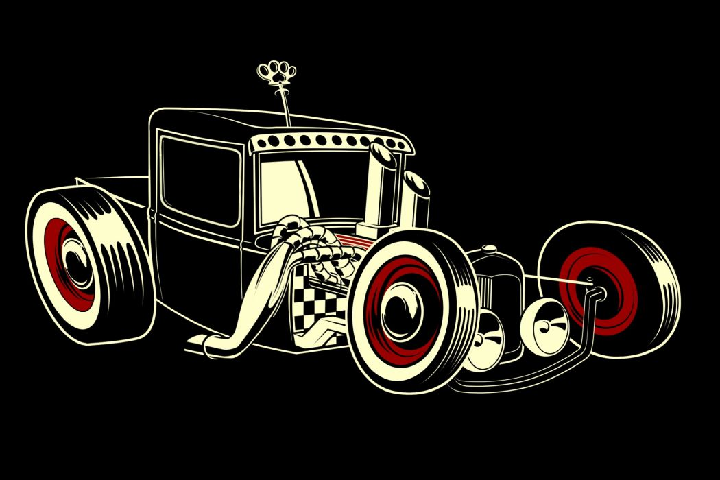 2560x1440 Wallpaper Cars Rat Rod Hot Retro Vector Emgine Cartoon Wallpaper
