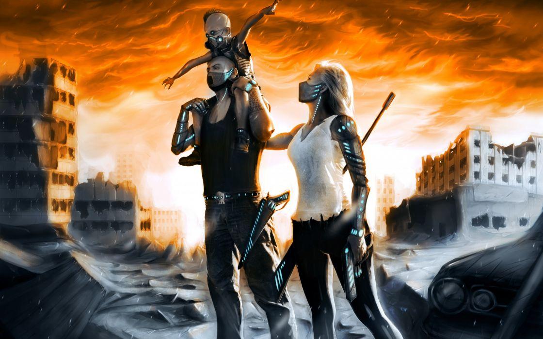 Gun Girl Anime Wallpaper Art Ruins City Razruka Post Apocalyptic Family Child Gun