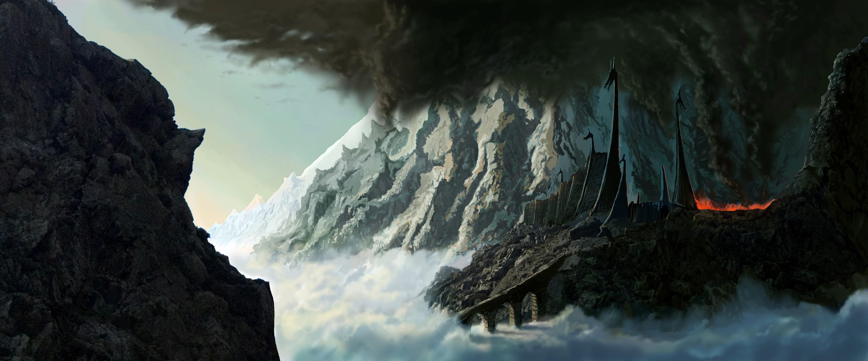 1920x800 Fall Wallpaper Mountains Fortress Fantasy Art Silmarillion Jrr Tolkien