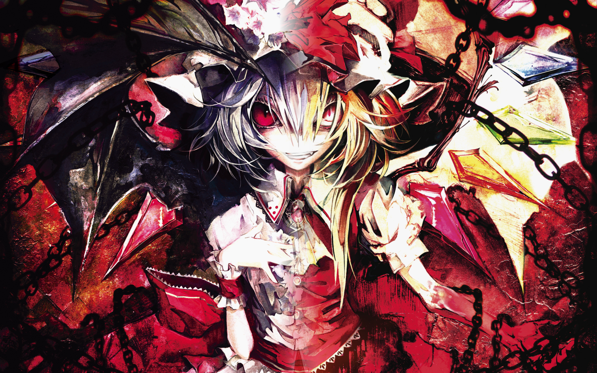 Red Anime Wallpaper Banpai Akira Flandre Scarlet Red Eyes Remilia Scarlet