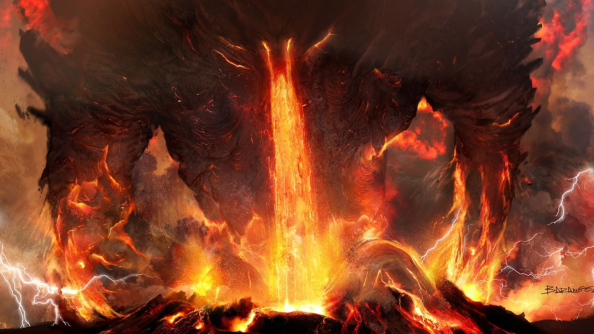 Epic Titan Fall Wallpaper Art Titanium Anger Fire Lightning Lava Volcano Ash Demon