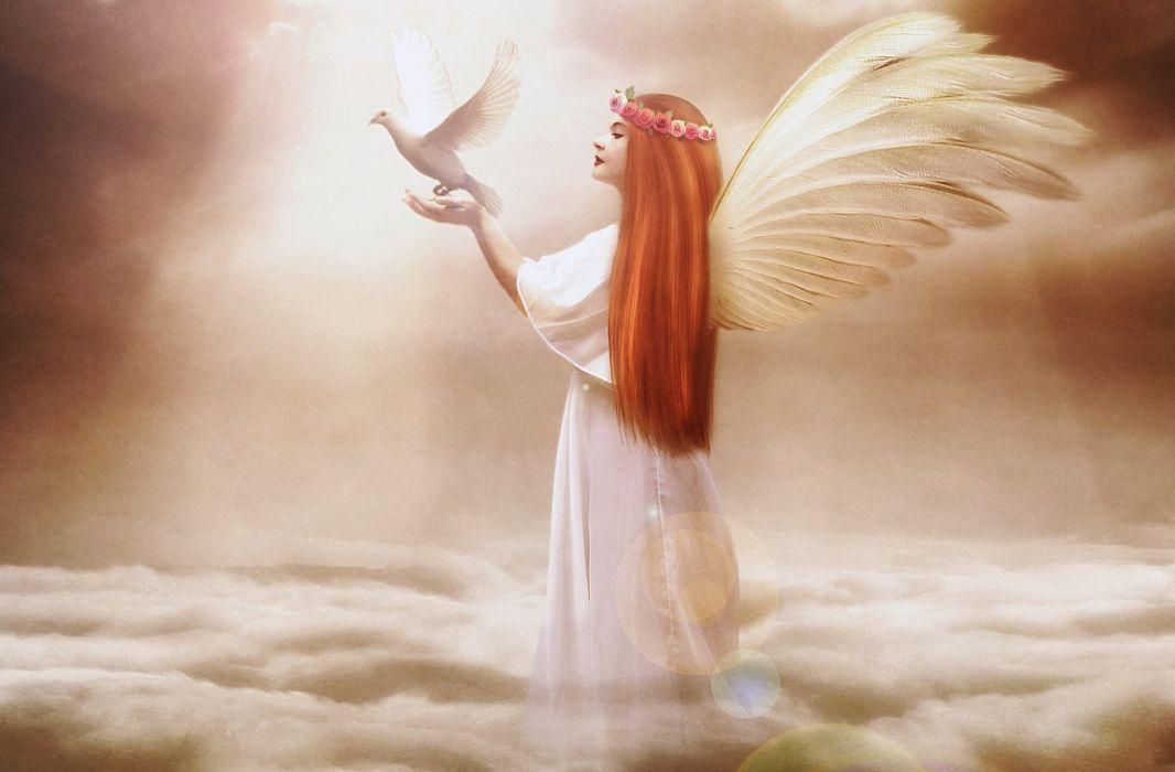 Desktop Wallpaper Hd 3d Full Screen Baby Angels Pigeons Redhead Girl Wings Clouds Fantasy Girls