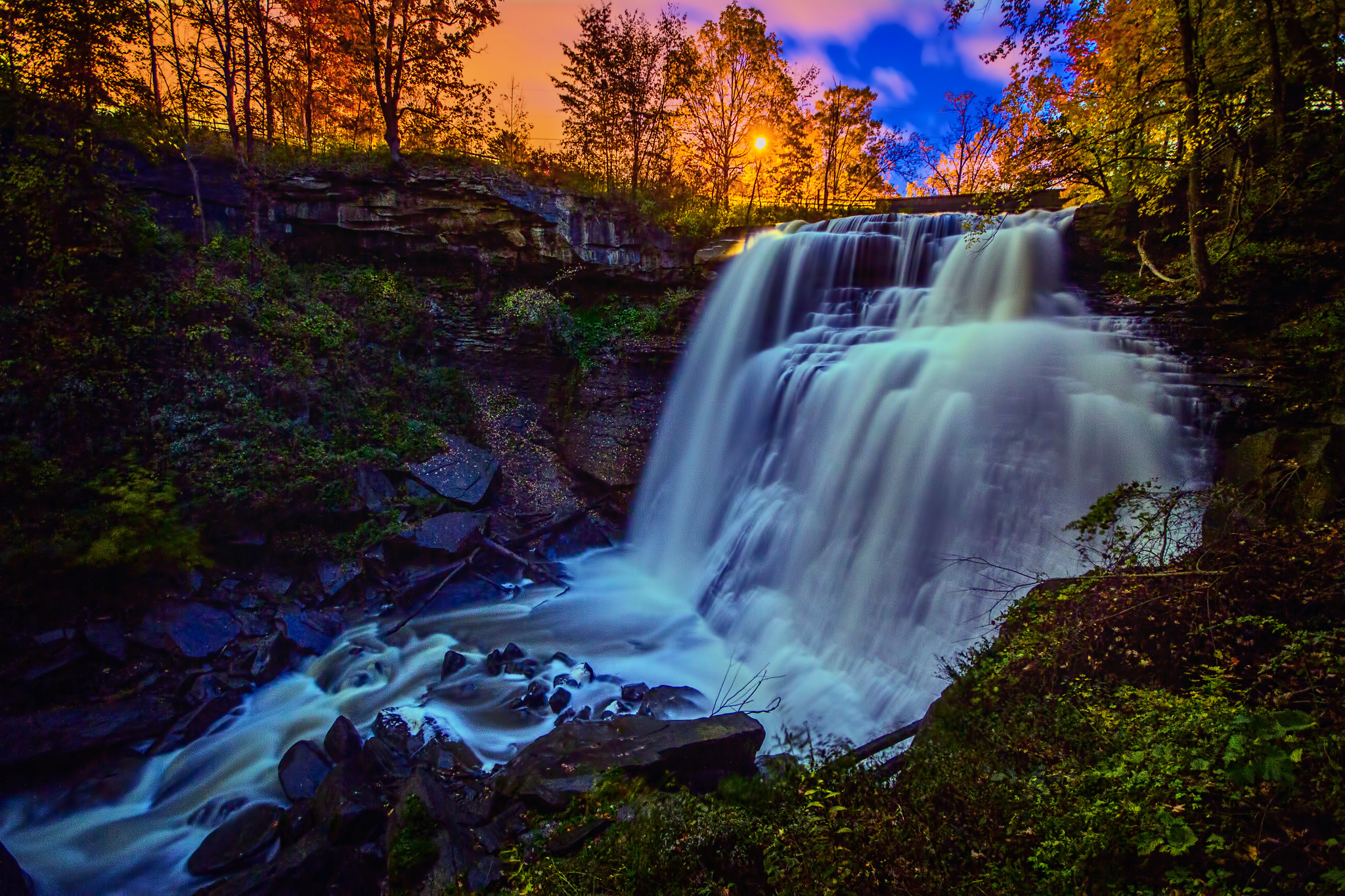 Pink Fall Desktop Wallpaper Ohio Waterfall Sunset Hdr Wallpaper 2048x1365 118289