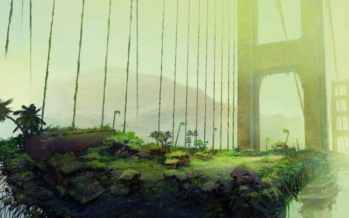 London Girl Wallpaper Ruins Art Bush Bridge Fantasy Post Apocalypse Apocalyptic