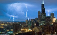 USA Chicago Illinois city skyscrapers lightning photo ...