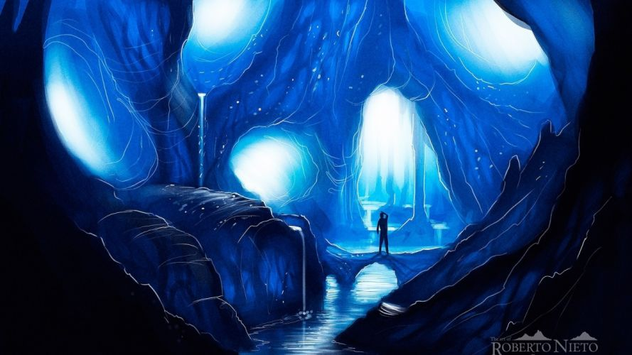 Blue Anime Wallpaper Ice Landscapes Caves Silhouettes Fantasy Art Artwork