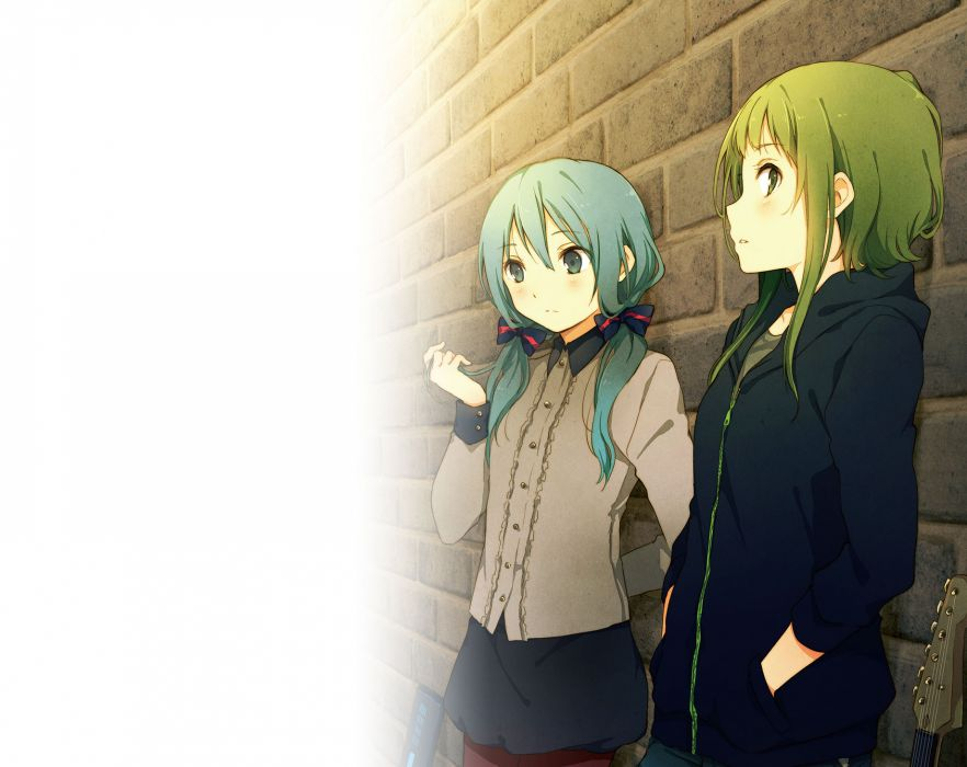 Vocaloid Anime Wallpaper Vocaloid Girls Green Eyes Green Hair Guitar Gumi Hatsune
