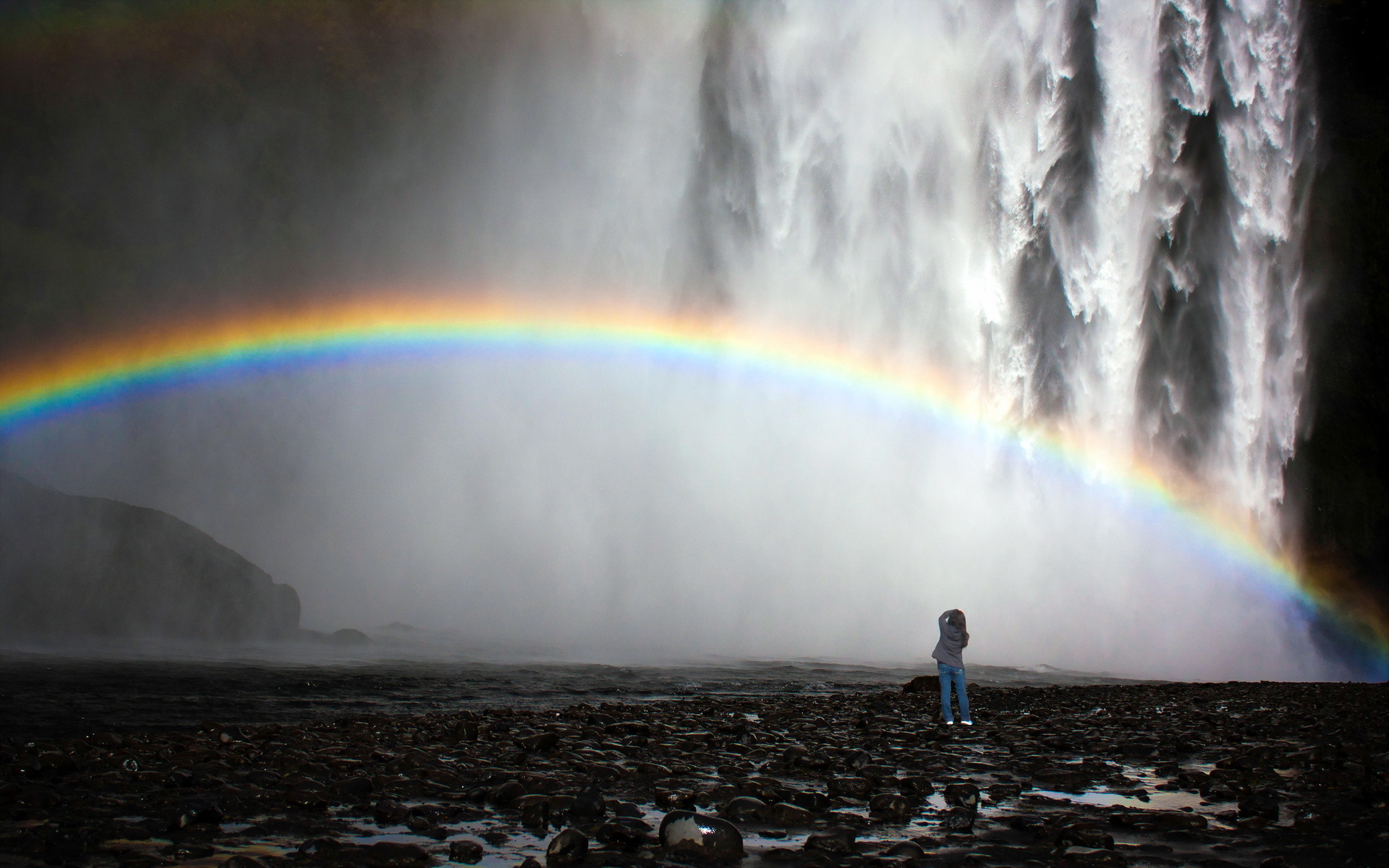 Animated Waterfalls Wallpapers Free Download Waterfall Rainbow Nature Mood Drops Fog Wallpaper