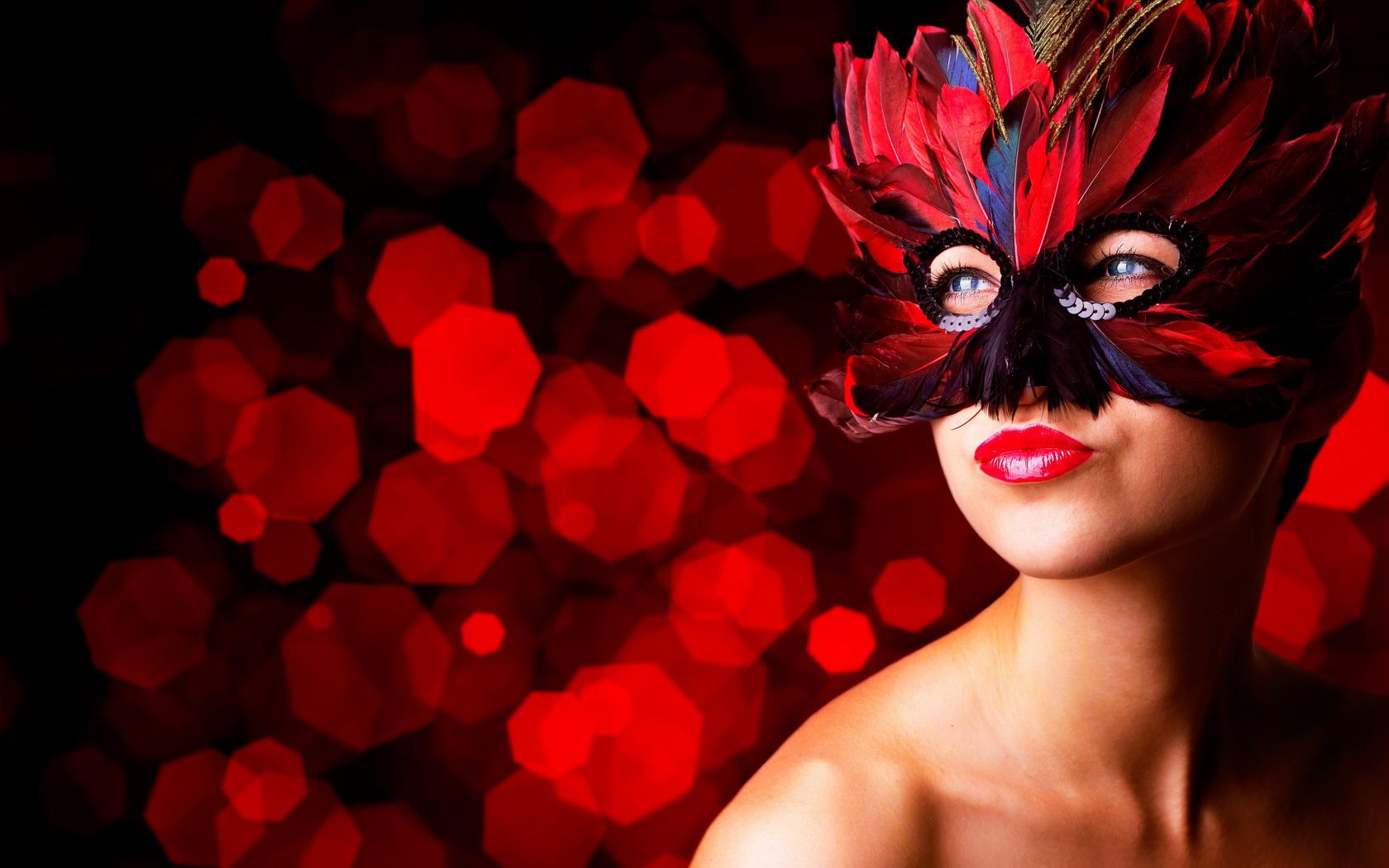 Wallpaper 1680x1050 Girl Girl Woman Beauty Mask Red Blue Eyes Wallpaper 1680x1050