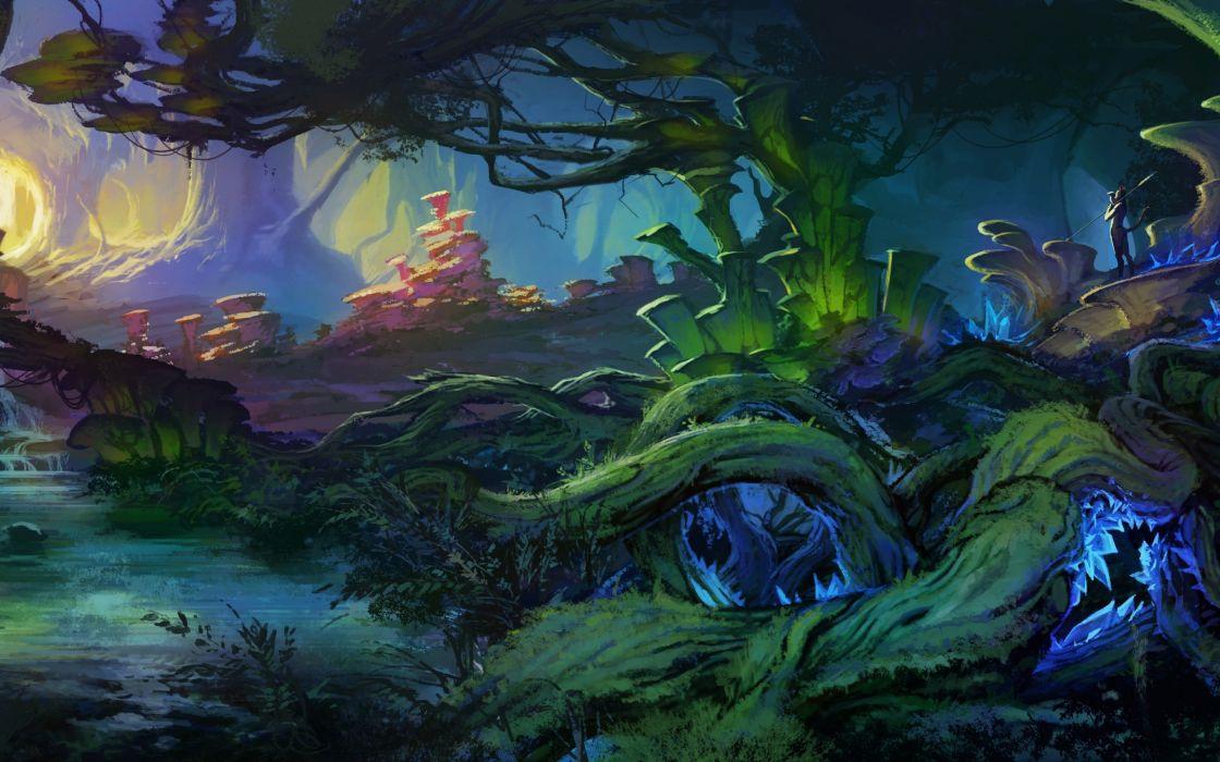 Cute Baby Girl Wallpaper For Desktop Full Screen Art Landscape Fantasy World Bush Plants Trees Roots Creek