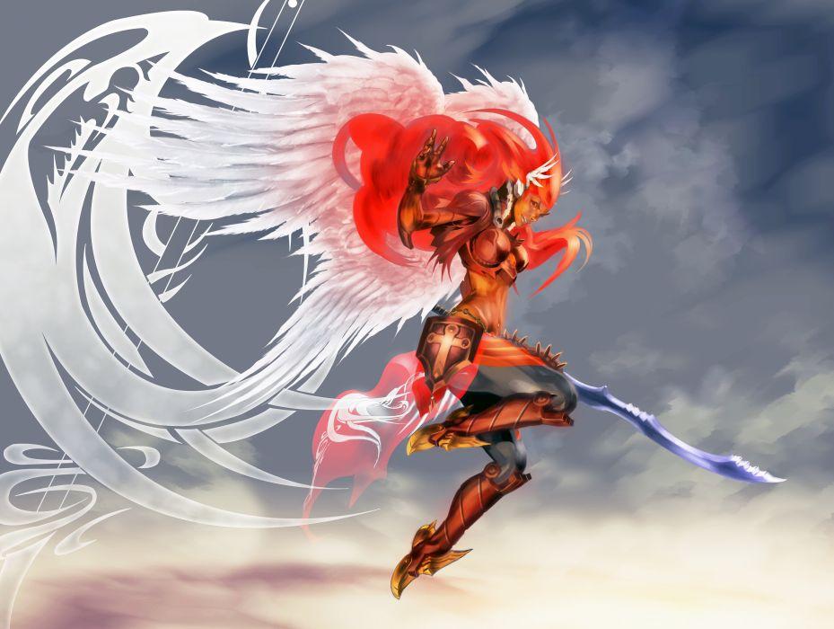 3d Wallpaper Baby Girl Angel Warrior Wings Sword Armor Fantasy Girls Wallpaper