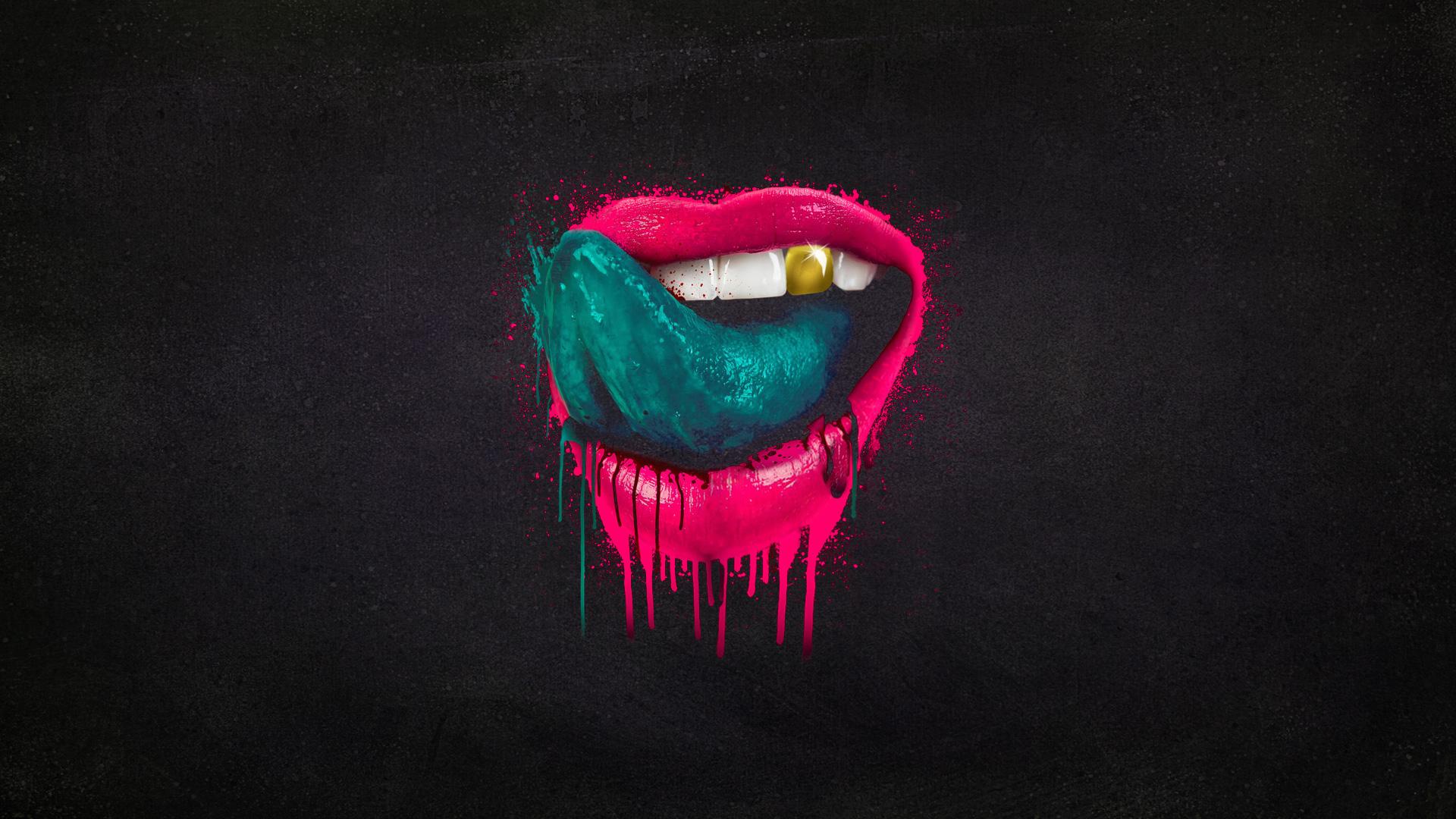 Falling In Reverse Lips Wallpaper Mouth Tongue Splatter Lips Paint Wallpaper 1920x1080