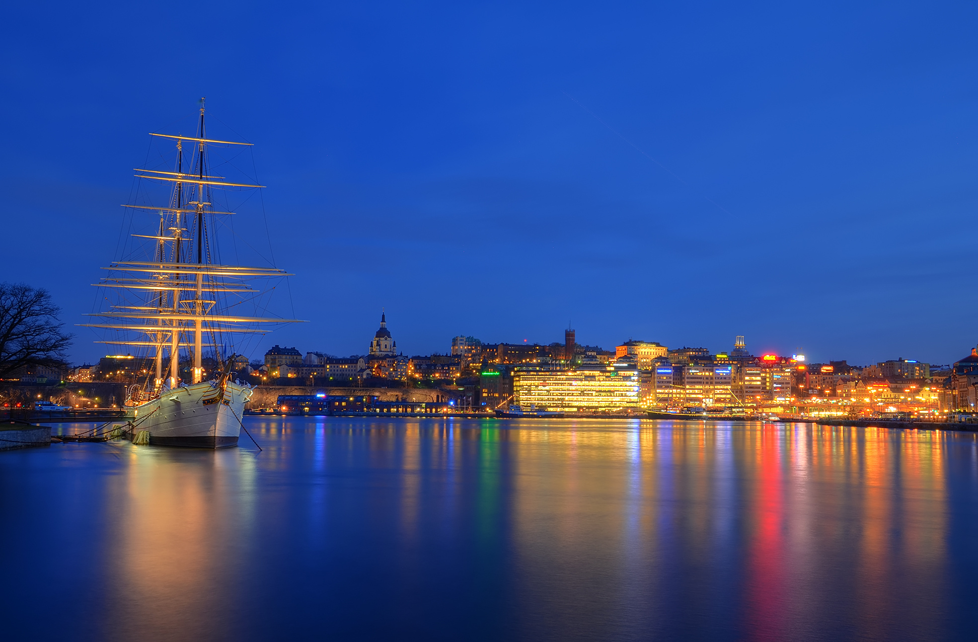 Evening Wallpaper With Quotes Skeppsholmen Stockholm City Night Lights Wallpaper