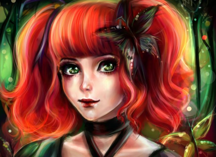 1920x1080 Fantasy Girl Wallpaper Painting Art Butterfly Redhead Girl Hair Face Glance