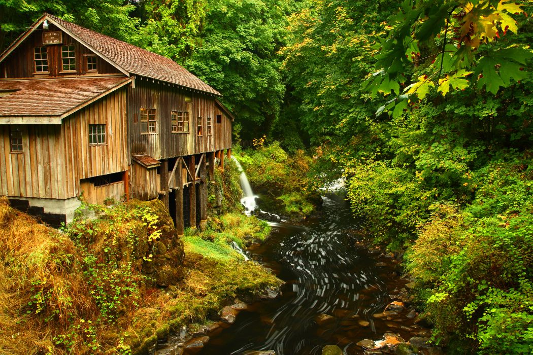 Wallpaper Fall Images Cedar Creek Grist Mill Autumn River Stream Forest House