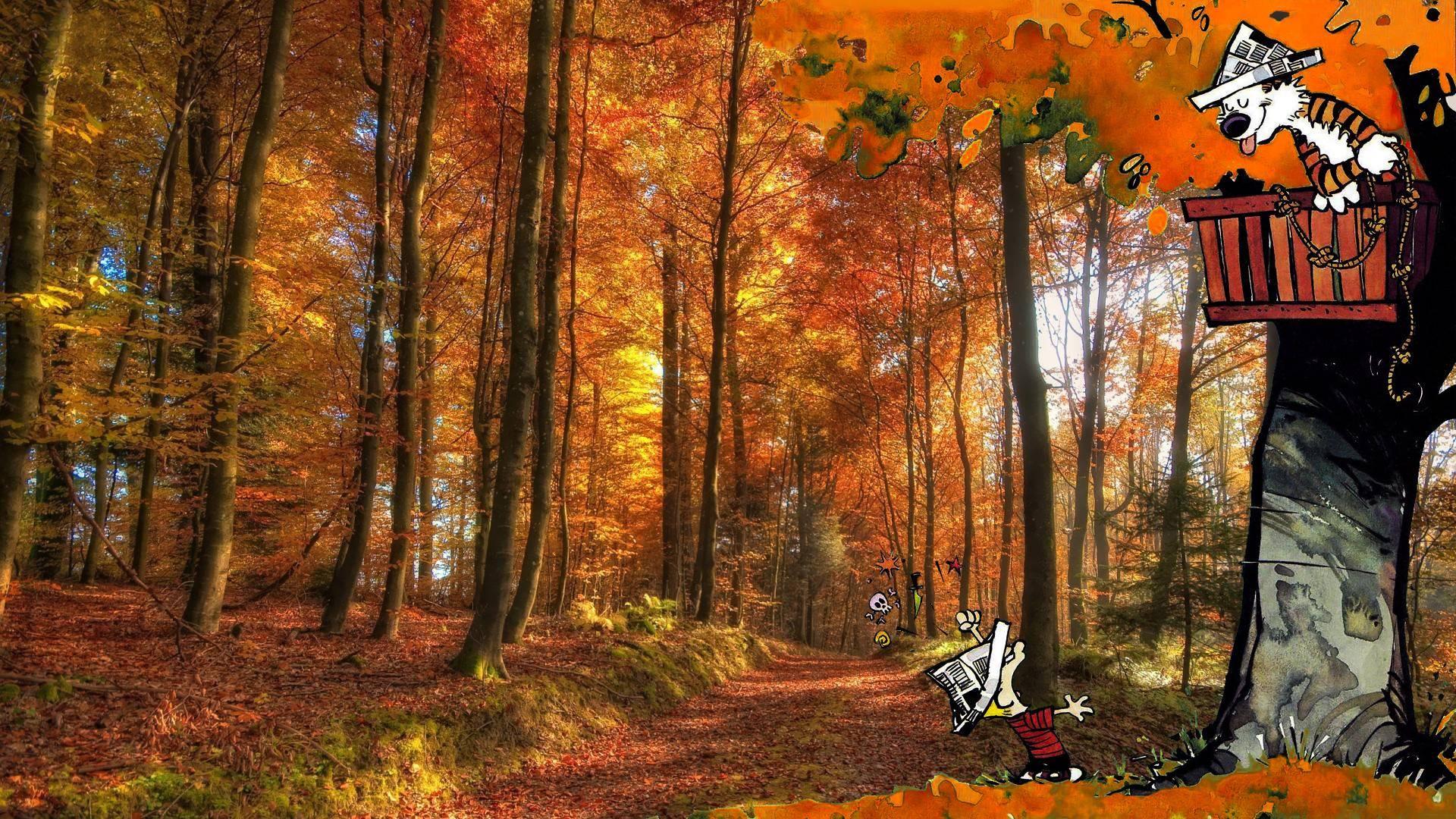 Calvin And Hobbes Fall Wallpaper Calvin And Hobbes Comics Autumn Forest Wallpaper