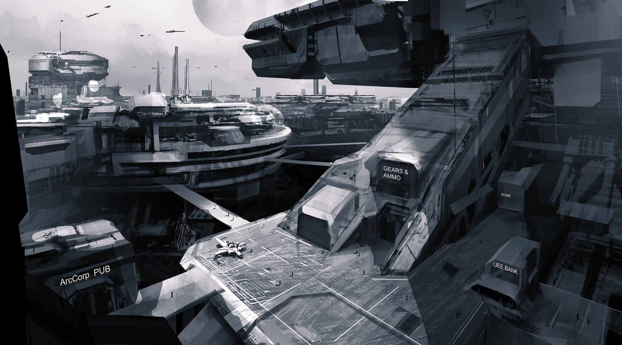 Levski 3d Wallpaper Star Citizen Sci Fi Spaceship Game City Gr Wallpaper