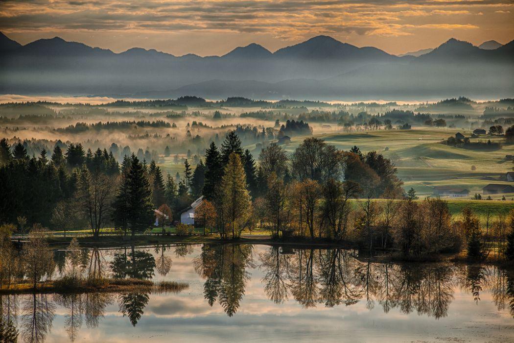Central Park Fall Desktop Wallpaper Bavaria Germany Autumn River Morning Dawn Reflection Trees