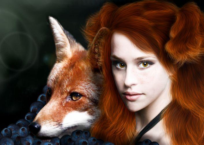 Girls 4k Wallpaper Foxes Redhead Girl Hair Face Animals Girls Wallpaper