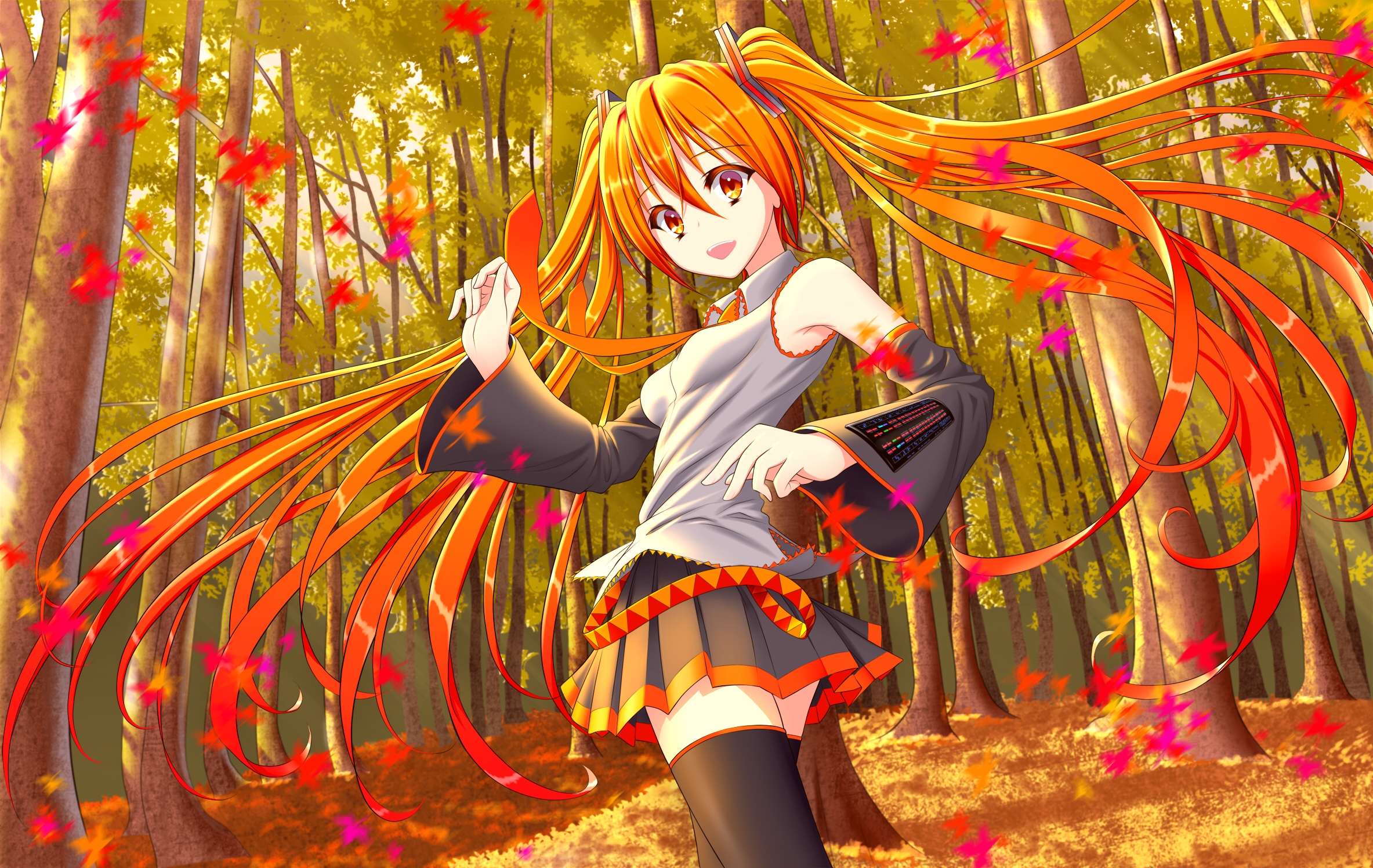 Touhou Fall Wallpaper Vocaloid Autumn Forest Hatsune Miku Leaves Long Hair