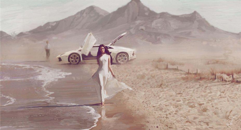 Car Wallpaper 8k Art Sea Coast Girl Car Mood Beach Lamborghini Supercar