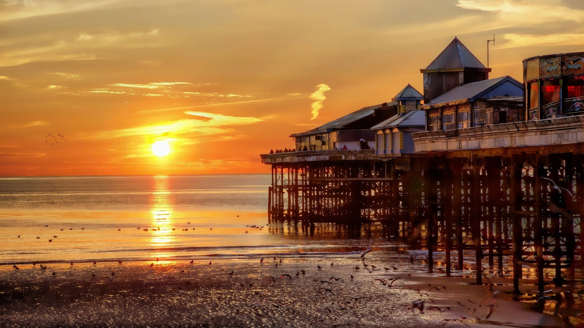 London Wallpaper Hd 1920x1080 Pier Blackpool United Kingdom Sunset Landscape G Wallpaper